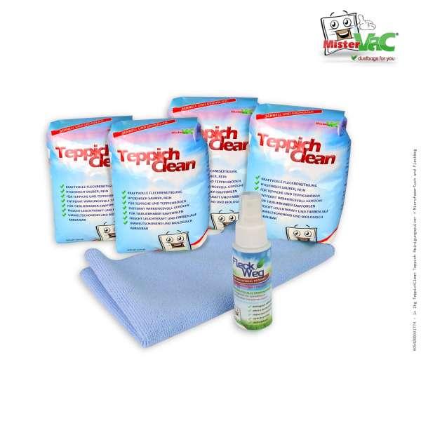 1x 2kg TeppichClean Teppich Reinigungspulver + Microfasertuch und FleckWeg