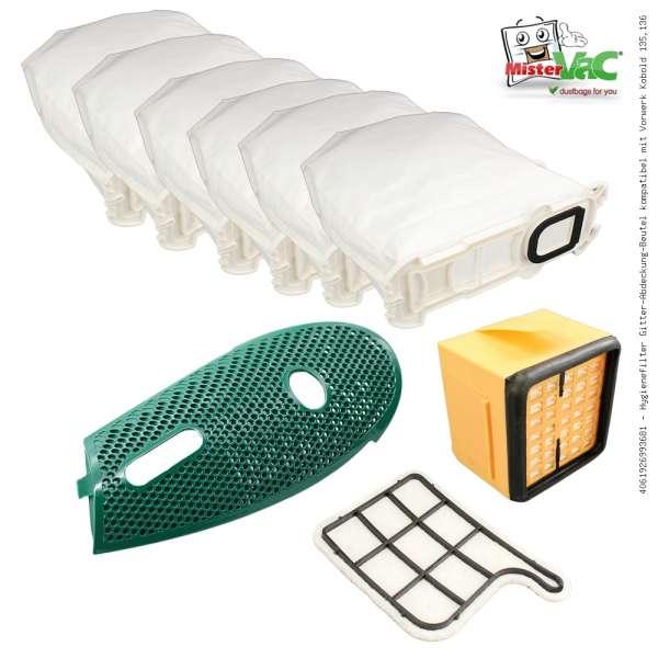 Hygienefilter Gitter-Abdeckung-Beutel kompatibel mit Vorwerk Kobold 135,136