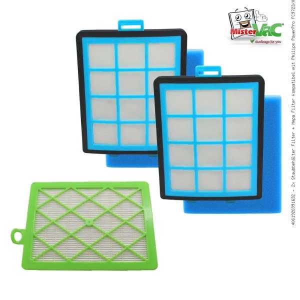 2x Staubbehälter Filter + Hepa Filter kompatibel mit Philips PowerPro FC9723/09
