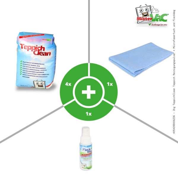 2kg TeppichClean Teppich Reinigungspulver + Microfasertuch und FleckWeg