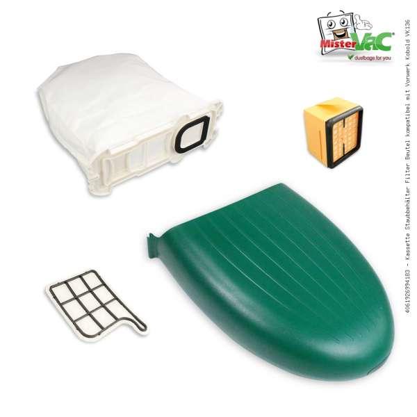 Kassette Staubbehälter Filter Beutel kompatibel mit Vorwerk Kobold VK136