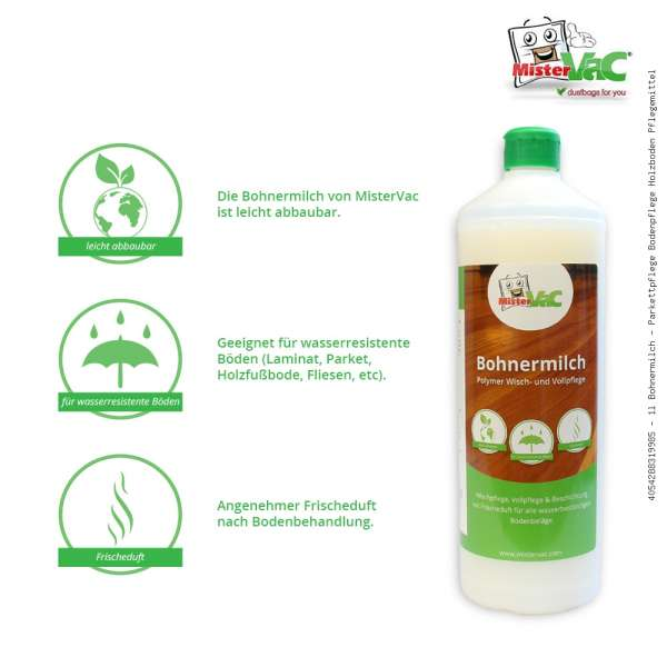 1l Bohnermilch - Parkettpflege Bodenpflege Holzboden Pflegemittel