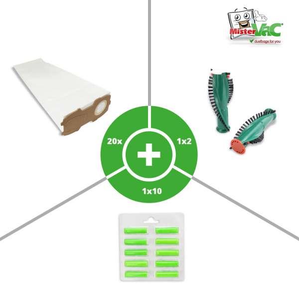 20x Staubsaugerbeutel, 1x Ersatzbürsten, 1x Duft geeignet für Vorwerk Kobold 120, 121, 122