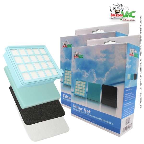 2x Filter Set kompatibel mit Philips FC 9322/09 PowerPro Compact